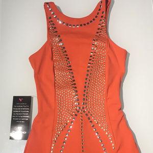 Bebe Addiction Orange Studded Dress L